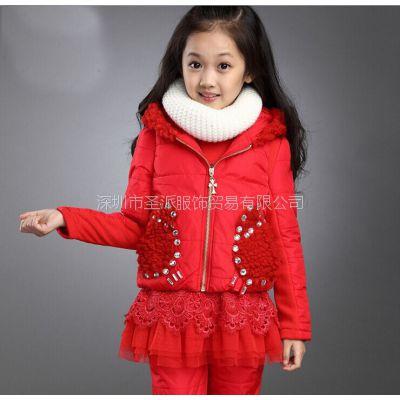 新款冬装女童装套装烫钻套装儿童加厚三件套网店代理一件代发网络爆款