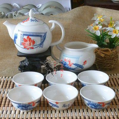【特价】供应8头展盒装 青花瓷功夫茶具套装 精美促销茶具 可定制