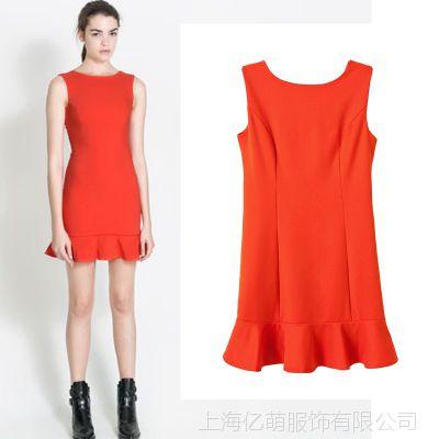 lf秋冬新款女装2013欧美现货红色叠层无袖修身连衣裙wp2168