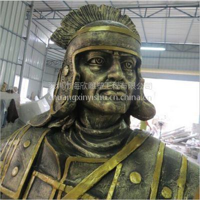 玻璃钢战士武士雕塑厂家 玻璃钢古代人物将军拿着挡箭牌打仗的姿势造型雕塑订做