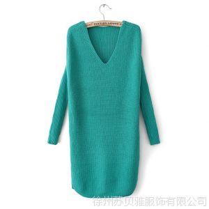 供应女装秋装2013新款韩版V领套头中长款长袖针织衫毛衣宽松打底衫女