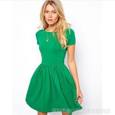 批发2014春夏新款ZARA百搭时尚包袖针织短袖修身纯色连衣裙