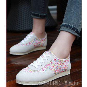 2014春款潮时尚民族风低帮印花系带帆布鞋女鞋子韩版潮青年学生鞋