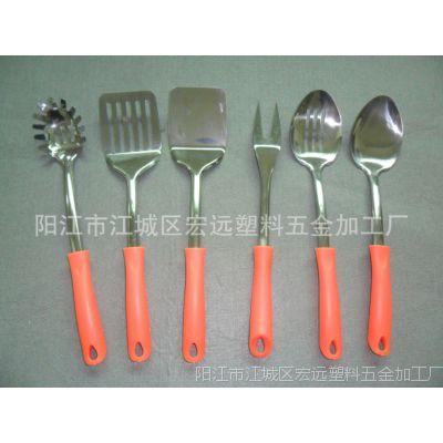 供应新款塑料手柄不锈钢大厨具套装