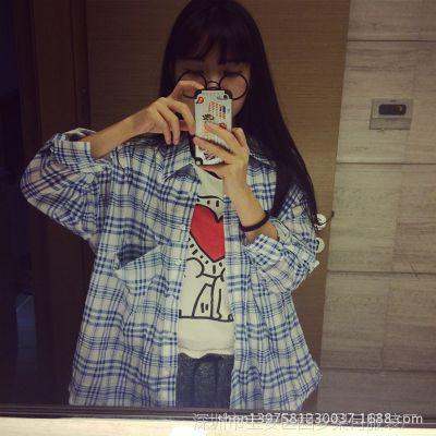 供应大码格子衬衫女长袖2014初秋新款中长款女式衬衫韩国BF风宽松衬衣