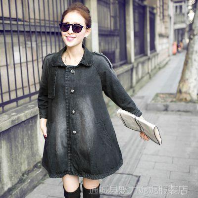 2014新款韩版休闲中长款宽松单排扣牛仔风衣款外套代理批发女