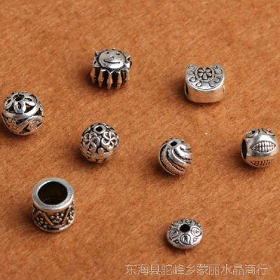 天然 手链手工DIY配件藏银古银星星月亮隔珠饰品串珠材料批发