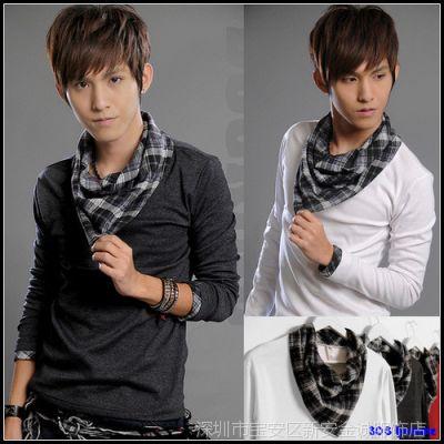供应批发时尚男装韩版重弹大爱款 格子撞色搭配领设计 薄卫衣3p3-W11