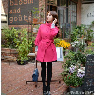2014新款韩版SZ七分袖宽松枚红色女式羊驼毛呢外套女装风衣女