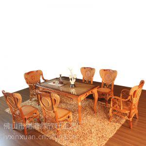 上海藤木家具厂家直销 藤木餐桌餐椅组合6人套装 藤制餐厅家具户外家具 1.5米长餐桌3031