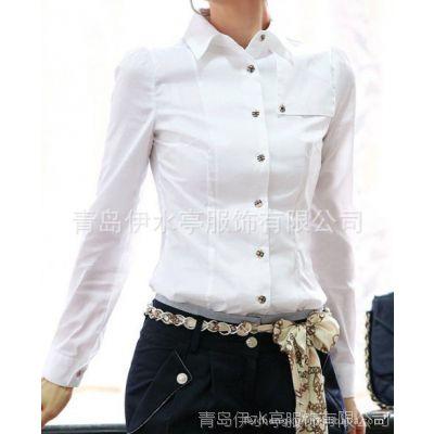 济南女衬衫定做 潍坊女衬衣生产加工 免烫 抗菌防臭 液氨整理
