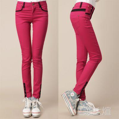 新款韩版修身显瘦女装 纽扣装饰小脚裤一件代发 淘宝店铺免费代理