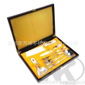 供应2013新款高档商务礼品/木盒装陶瓷刀具7件套/鸿运红黄玫瑰花柄