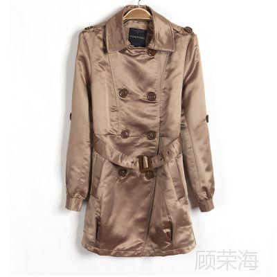 外贸原单2014春秋新款韩版女装翻领双排扣中长款风衣外套送腰带