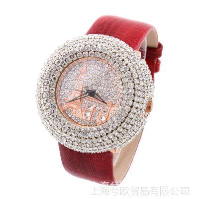 低价促销清仓热卖优雅女款石英手表水钻手表满水晶的休闲手表