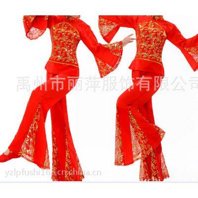 供应中老年秧歌演出服 广场舞表演服腰鼓舞演出服装 亮片套装加大码批量定做