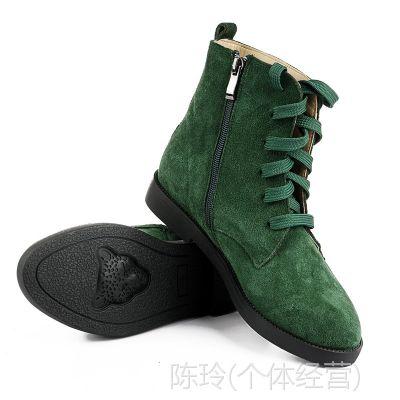 批发外贸女短靴子 真皮平跟休闲大码靴子35-43码棉鞋子