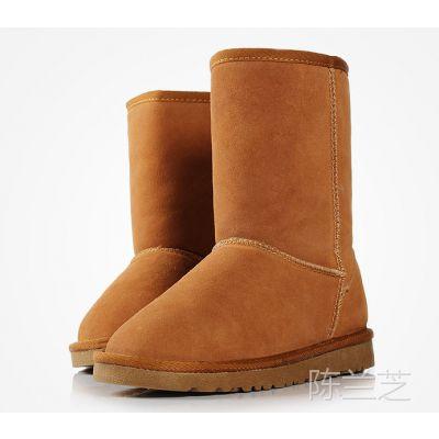 新款秋冬季中筒靴女雪地靴子包邮牛筋底真皮女靴女鞋