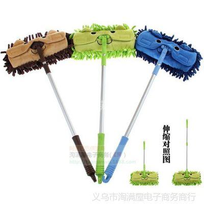 出口日本小巧儿童拖把 新款雪尼尔可伸缩除尘拖把 可拆卸 卡通