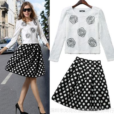 2014高品质欧美女装花朵加绒蕾丝衫上衣+黑白点中长裙两件套装