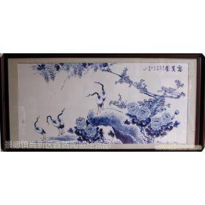 供应精品瓷板画,青花花鸟礼品瓷板画