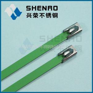 供应彩色喷塑(绿色)不锈钢扎带 涂塑(绿色)不锈钢扎带 兴荣喷塑绿色自锁式不锈钢扎带