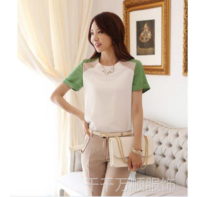 供应新款上衣短袖雪纺衫修身圆领撞色雪纺衫女式短袖衬衫
