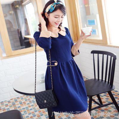 秋季百搭领子袖子拼色设计腰间褶皱女装连衣裙 S373