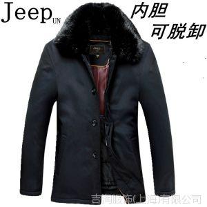 供应冬装jeep un正品男式风衣驼绒内胆可脱卸 大毛领中长款尼克服外套