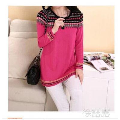 韩版新品孕妇装中长款民族风低领针织衫毛衣套头孕妇打底毛衣1352