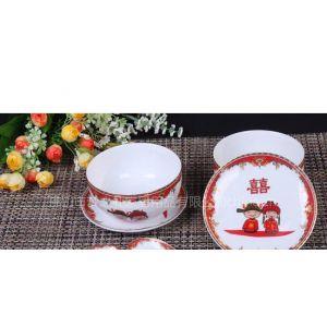 供应6件套婚庆骨瓷餐具 金边童子夫妻对碗