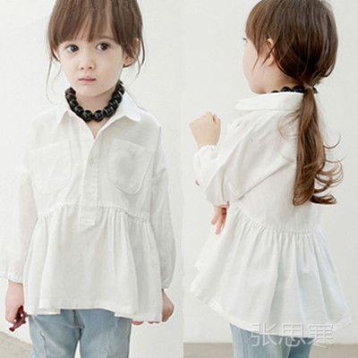2014春装新款韩版女童长袖白衬衫 免费加盟代理商 网店一件代发