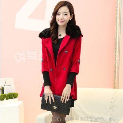 2014秋装新款毛呢外套 毛领女装红色呢子大衣中长款毛呢外套