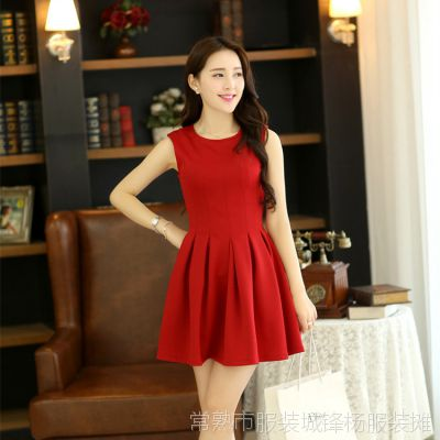 春装新款韩版修身连衣裙德芙汤唯同款纯色背心裙红色 百褶裙X867