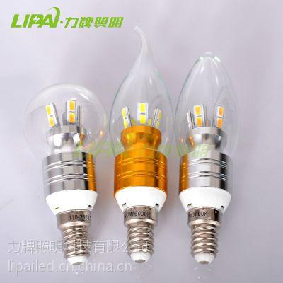 供应LED蜡烛灯泡3W5W7W水晶灯光源超亮E14E27螺口调光