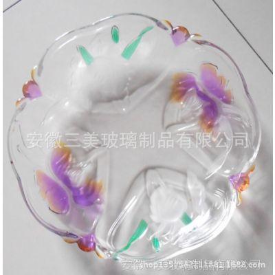 供应现货三美玻璃花卉超大号大果盘,可喷色果盘