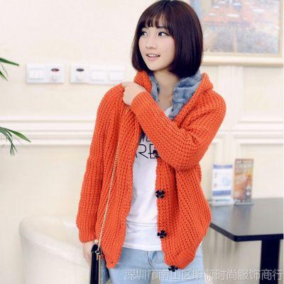 时尚加厚秋冬新款 加大码女装韩版开衫夹绒带帽 长款毛衣外套