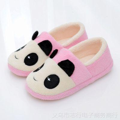 批发爆款冬季必备女式毛绒软底舒适保暖棉鞋熊猫家居鞋促销礼品