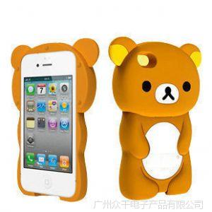 供应批发苹果iphone4 4s手机壳 轻松熊 可爱手机保护硅胶软外壳保护套