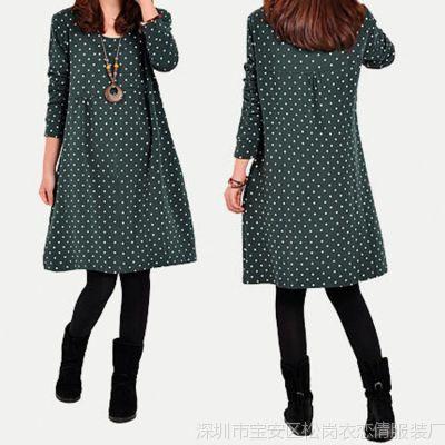 2014秋装 新款女装韩版圆点连衣裙 宽松大码拼接 波点A字连衣裙