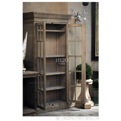 出口欧洲实木家具 松木法式喷点黑 陈列边柜书柜