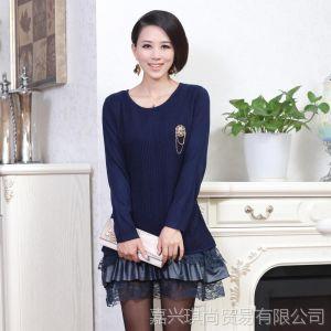 供应2013韩版秋装年轻妈妈装中长款打底衫纯色蕾丝拼接连衣裙现货批发