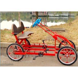 供应独立座位 带顶棚 批发森林人带蓬联排双人自行车情侣车双人车休闲车二人车 两人自行车