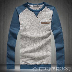 供应秋冬新款长袖T恤男士加肥加大码长袖T恤时尚拼接长袖T恤打底衫男