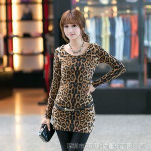 供应COCO2014春装新款韩版潮修身打底衫女豹纹修身长款包臀T恤连衣裙