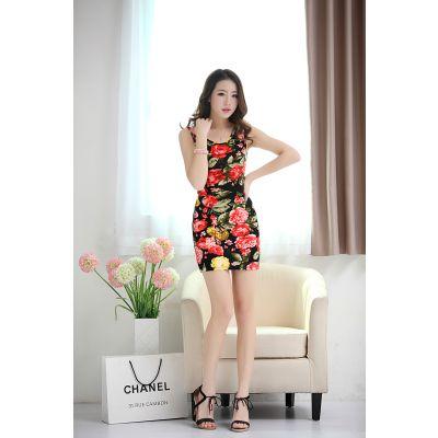 供应新款夏装韩版优雅淑女范无袖复古立领格纹雪纺连衣裙