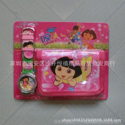 精品礼品卡通儿童电子手表朵拉DORA 带钱包 套装手表 女生手表
