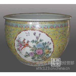 供应粉彩陶瓷鱼缸,大厅摆件陶瓷鱼缸,粉彩陶瓷鱼缸价格