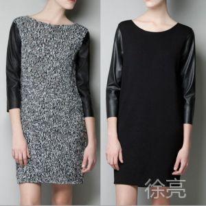 供应2013秋冬季新款 欧美范PU皮拼接针织七分袖连身裙 仿皮袖连衣裙