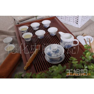 青花瓷茶具/龙泉功夫茶具/陶瓷茶具/菊花残釉上彩套装